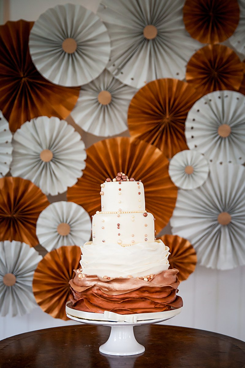 Wedding Stationery Inspiration: Grey & Copper Paper Fan Wedding Cake Backdrop | Amanda Karen Photography