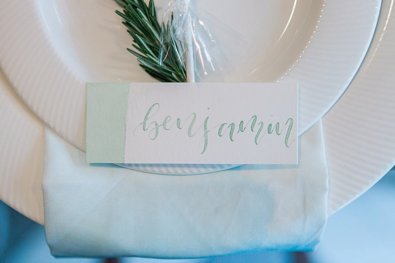 Ethereal Mint Green Watercolour Wedding Invitations | Calligraphy Place Cards | Amanda Karen Photography