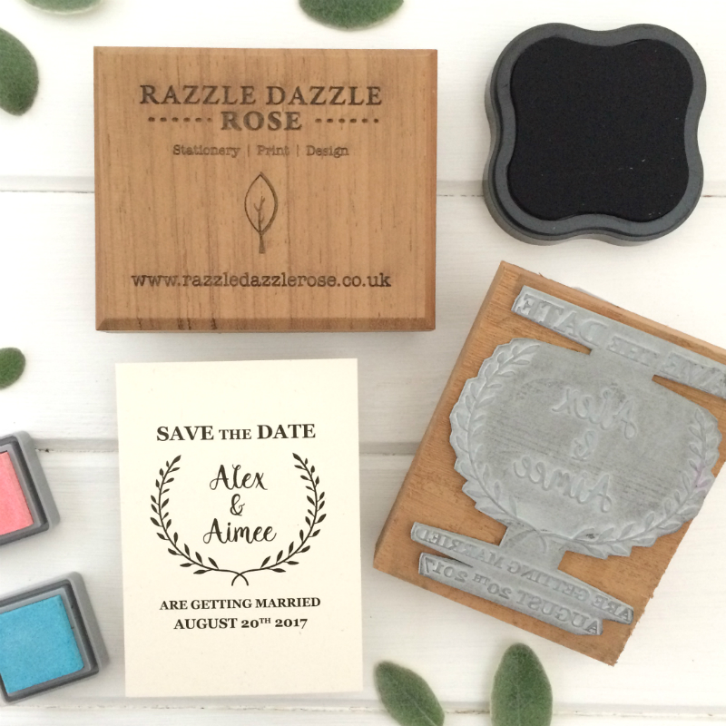 Razzle Dazz Rose Personalised Rubber Stamps | A7 Card & Tags | Laurel Wreath