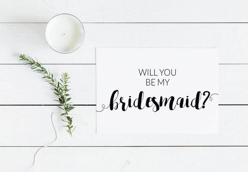 will you be my bridesmaid modern minimalist free printable card. Black Bedroom Furniture Sets. Home Design Ideas